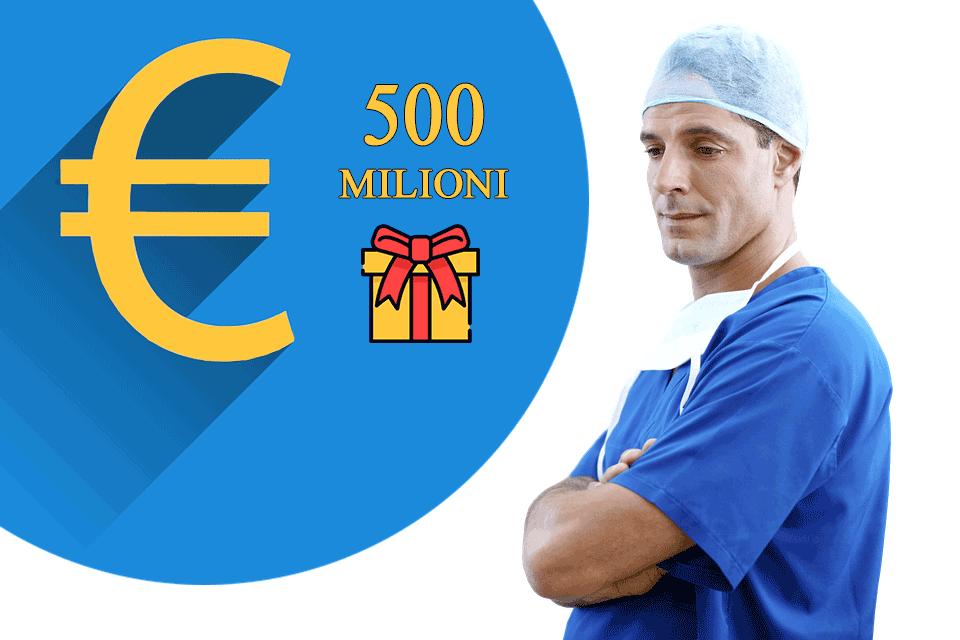 """Sono 500 i milioni che i Medici del Servizio Sanitario Nazionale hanno """"donato"""" allo Stato."""